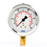 "Wika 9692015 Industrial Liquid-filled Gauge Model 213.53 2-1/2 Dial 100 PSI/BAR 1/4""NPT Lower Mount Stainless Steel Case"