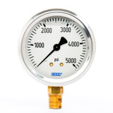"Wika 9767169 Industrial Liquid-filled Gauge Model 213.53 2-1/2 Dial 5000 PSI 1/4""NPT Lower Mount Stainless Steel Case"