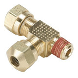 Parker VS271NTA-6-4 Air Brake Compression Male Run Tee 3/8 Tube OD X 1/4 NPTF X 3/8 Tube OD Brass
