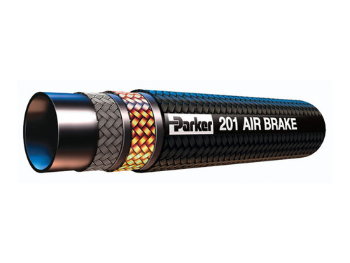 Parker 201-12-RL Hydraulic Air Brake Hose 5/8 ID Double Fiber and Steel Wire Braid Synthetic Rubber Fiber Cover Black