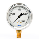 "Wika 9767142 Industrial Liquid-filled Gauge Model 213.53 2-1/2 Dial 2000 PSI 1/4""NPT Lower Mount Stainless Steel Case"