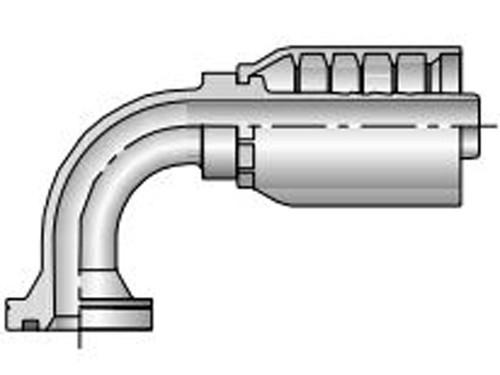 Parker 16N79-16-12 Parkrimp 79 Series Permanent 1 Inch SAE Code 62 Flange Head Elbow 90° X 3/4 Hose Steel