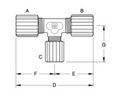 Parker FTCR-8812-T Partek Parflare PFA Tube Tee Connector Reducer 1/2 Tube X 1/2 Tube X 3/4 Tube