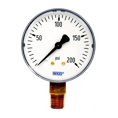 "Wika 4253159 General Purpose Dry Gauge Model 111.10 2-1/2 Dial 200 PSI 1/4""NPT Lower Mount ABS Plastic Case"