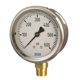 Wika 52737962 Industrial Liquid-filled Pressure Gauge Model 213.53 2-1/2 Dial 60 PSI 1/4 NPT Lower Mount Stainless Steel Case
