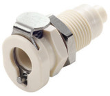 Colder PMCD160212 Valved Panel Mount Coupling Body 1/8 Hose Barb 120 PSI Polypropylene Almond