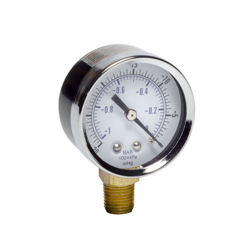 "Gast AA640 Vacuum Gauge 2 Inch Dial 0-30"" Hg (0-760 mm Hg) 1/4 NPT Bottom Mount"