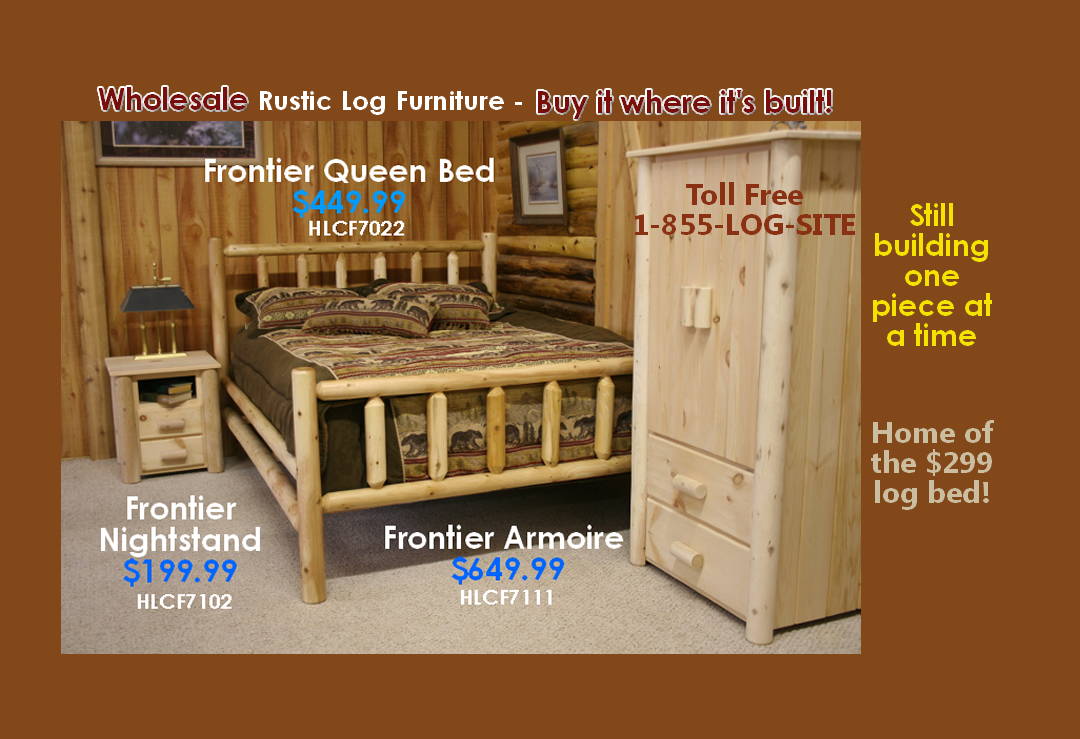Log Furniture Rustic Log Bed Barnwood Table Set Wholesale