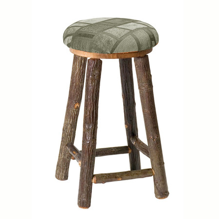 FL86510 Hickory Backless Barstool with Upholstered Seat