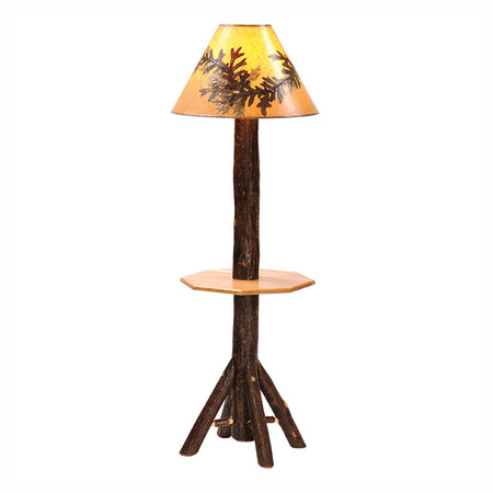 FL89240 Hickory Floor Lamp With Shelf