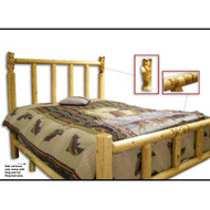 GT1103 GoodTimber Carved Bear Post Log Bed