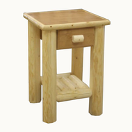 GT3001 GoodTimber Single Drawer Log End Table/Nightstand