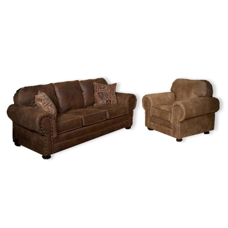 Rustic Log Furniture Wind River Brown Leather Sofa