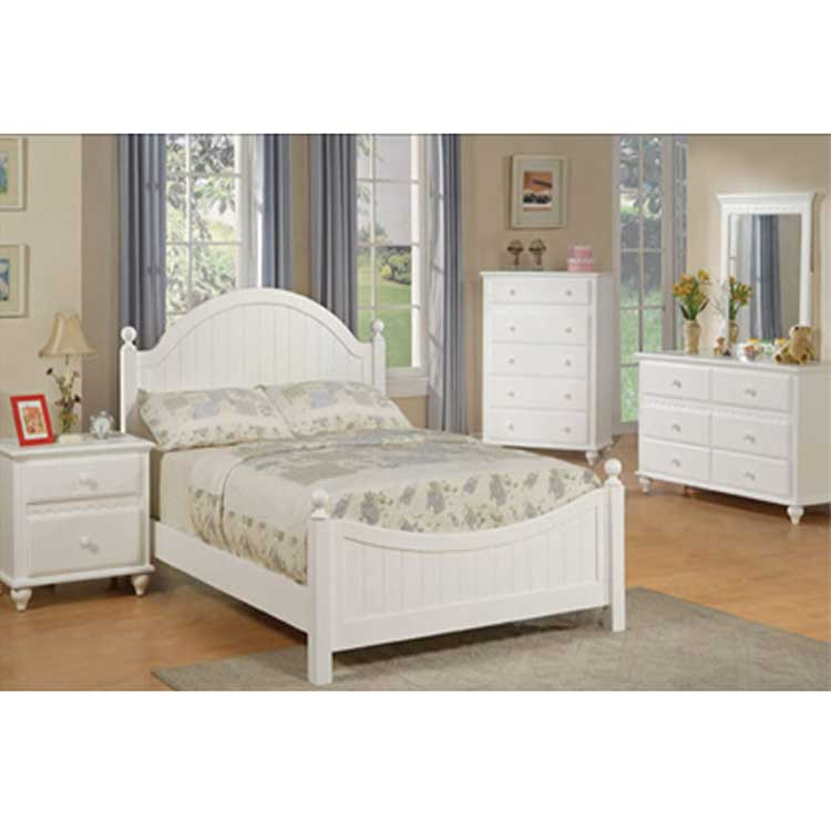 Full Size White Country Log Bedroom According To