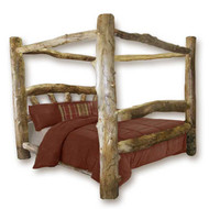 1204SBC Custom Sunburst Rustic Aspen Log Canopy Bed