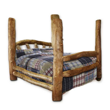 1204SBP Custom Sunburst Rustic Aspen Log Poster Bed