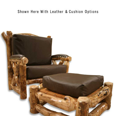2206 Oversized Rustic Aspen Living Room Chair & Ottoman with Cushions
