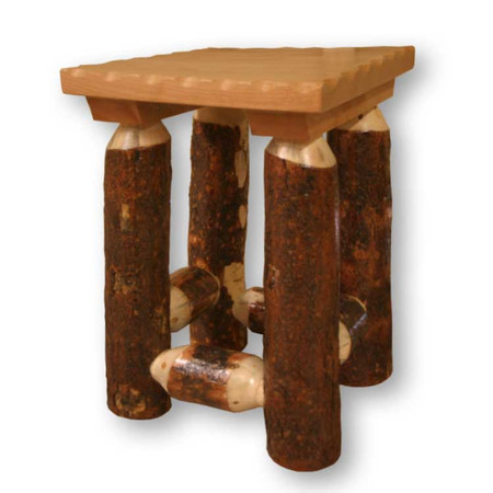 3201BL Bark on Lodge Pole Pine Leg Nightstand