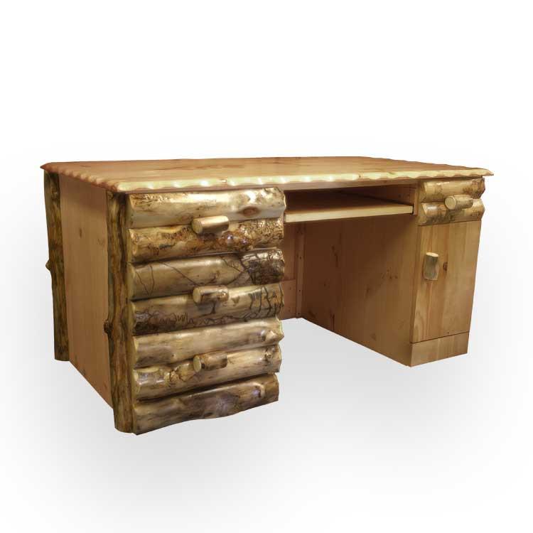 Rustic Americana Hardwood Executive Desk Home Office: Rustic Log Furniture Executive Desk