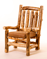 5103 Rustic Log Carver Chair with Upholstered Cushion