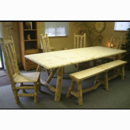 5201 Rustic Add-a-Leaf Log Dining Table