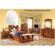 A11005 Oak Finish Bedroom Set