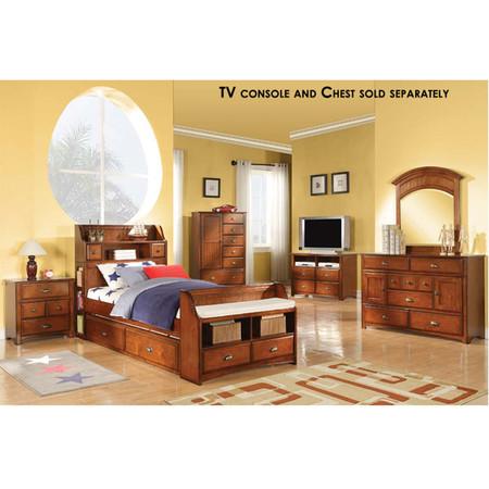 A11005 Oak Finish Bedroom Set