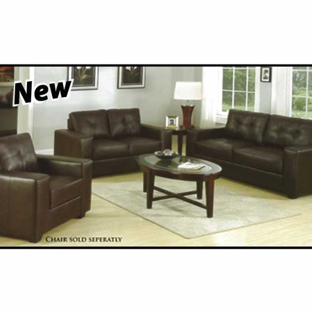 A15330 Espresso Leather Sofa and Loveseat Set