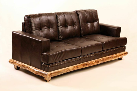 A2211COUCH Aspen Trimmed Leather  Couch