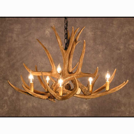 CHD6 Mule Deer Six Antler Chandelier