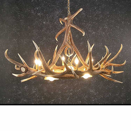 CHE6DL3 Elk 6 Antler Chandelier with 3 Downlights