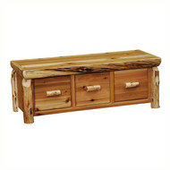 FL14520 Cedar Entry Bench With 3 Drawers