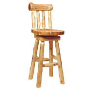 FL16220 Log Barstool with Back - 24 Inch Counter Height