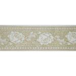 """Jacquard Ribbon 1 11/16"""" White Rose Gold Metallic"""