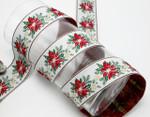 """Christmas Poinsettia Jacquard Ribbon 1 1/2"""" (38.1mm)"""