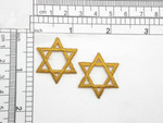 "Star Of David Old Gold Embroidered Iron On Patch Applique  Measures 1 1/8"" across x 1 3/16"" high"