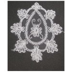 Bridal Applique WHITE Embroidered Sheer