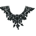 Venise Lace Yoke Applique - Black 12""