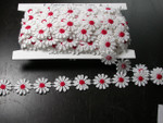 "Venise Lace 1"" White & Red Daisy 10 Yards"