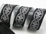 "Jacquard Ribbon 1 3/4"" Metallic Silver on Black Priced Per Yard"