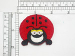 """Ladybug Patch Iron On Felt Embroidered Applique Measures 2"""" across x 1 7/8"""" high"""