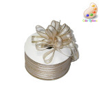"""Pull A Bow 3/8"""" Ribbon 50 Yard Roll Ivory/Gold"""