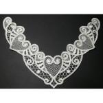 """Venise Lace Yoke Applique - Ivory Hearts 10 1/2"""" X 7 """""""