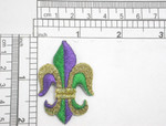"""Fleur De Lys 2"""" Metallic Gold Green & Purple Iron On Patch Applique  Fully Embroidered   Measures 1 1/4"""" across x 2"""" high"""
