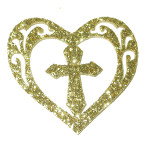 Iron On Patch Applique Cross in Heart Sparkly Metallic Gold