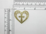 Heart Patch w cross Sparkly Metallic Gold Iron On Patch Applique