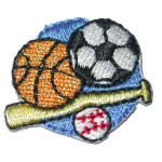 Iron On Patch Applique - Sports Bat n Balls