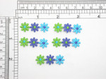 """5 x Daisy Triple Mini Embroidered Iron On Applique  Measures 1/2"""" high x 1 3/8"""" across"""