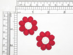 2 x Daisy Red & White Embroidered iron On Applique