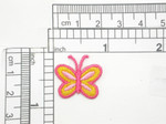 Butterfly Mini Iron On Patch Applique Yellow & Pink